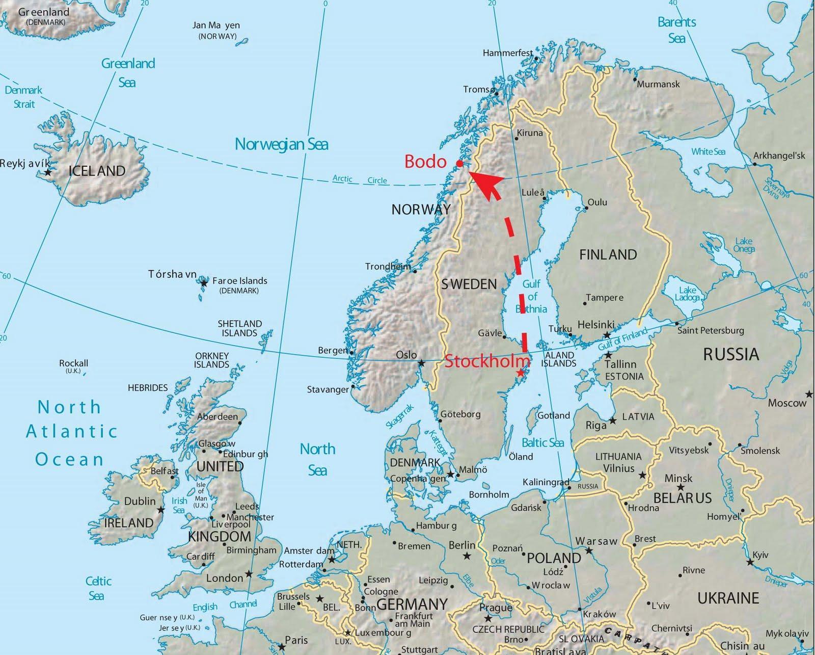 Bodo Norja Kartta Kartta Bodo Norja Pohjois Eurooppa Eurooppa