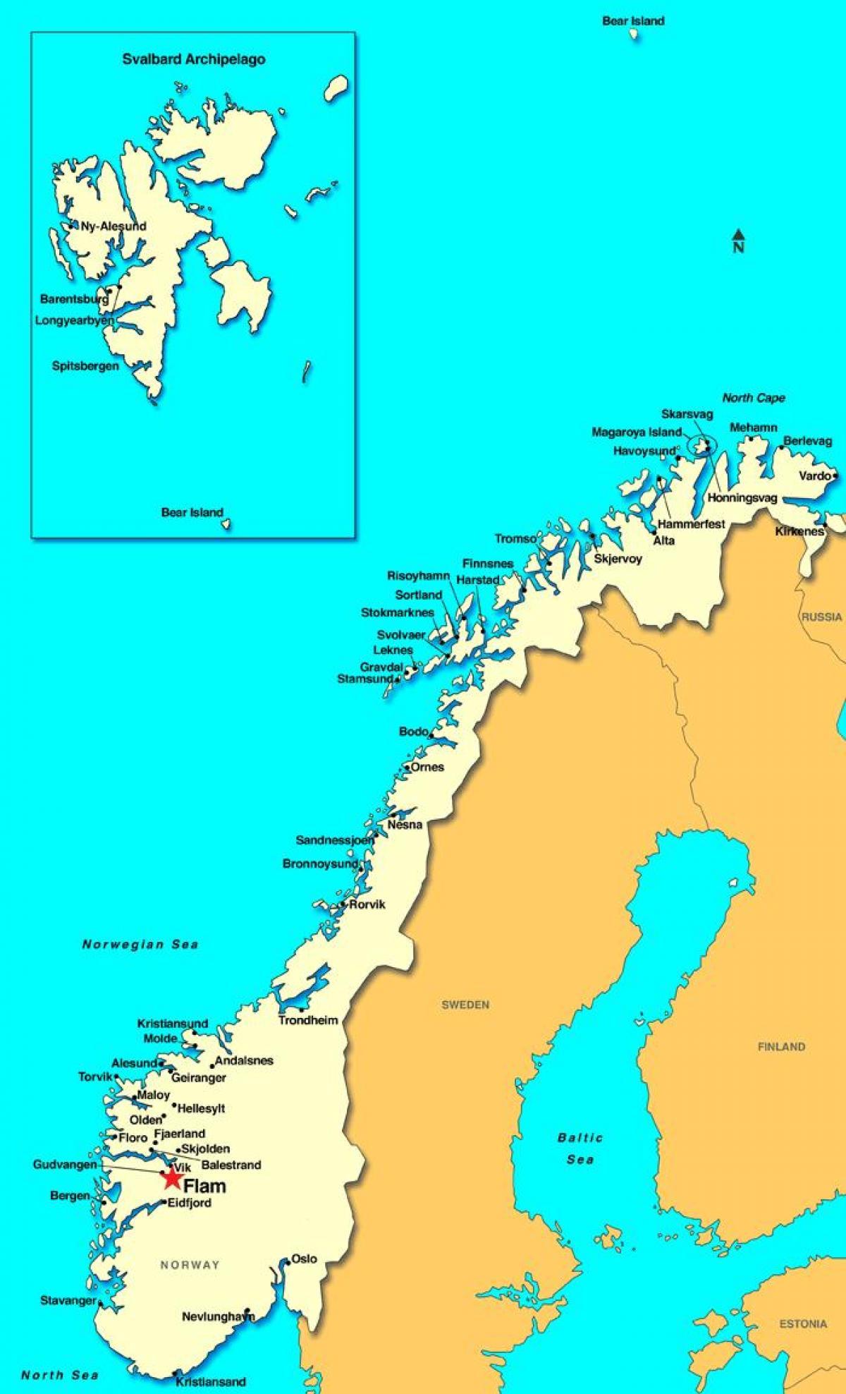 Flam Norja Kartta Flam Kartta Norja Pohjois Eurooppa Eurooppa