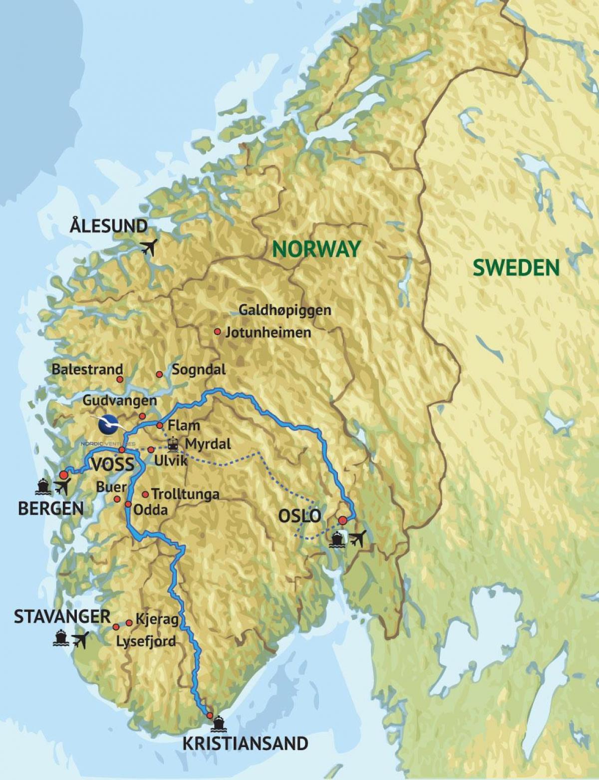 Kartta Lansi Norja Kartta Lansi Norjassa Pohjois Eurooppa