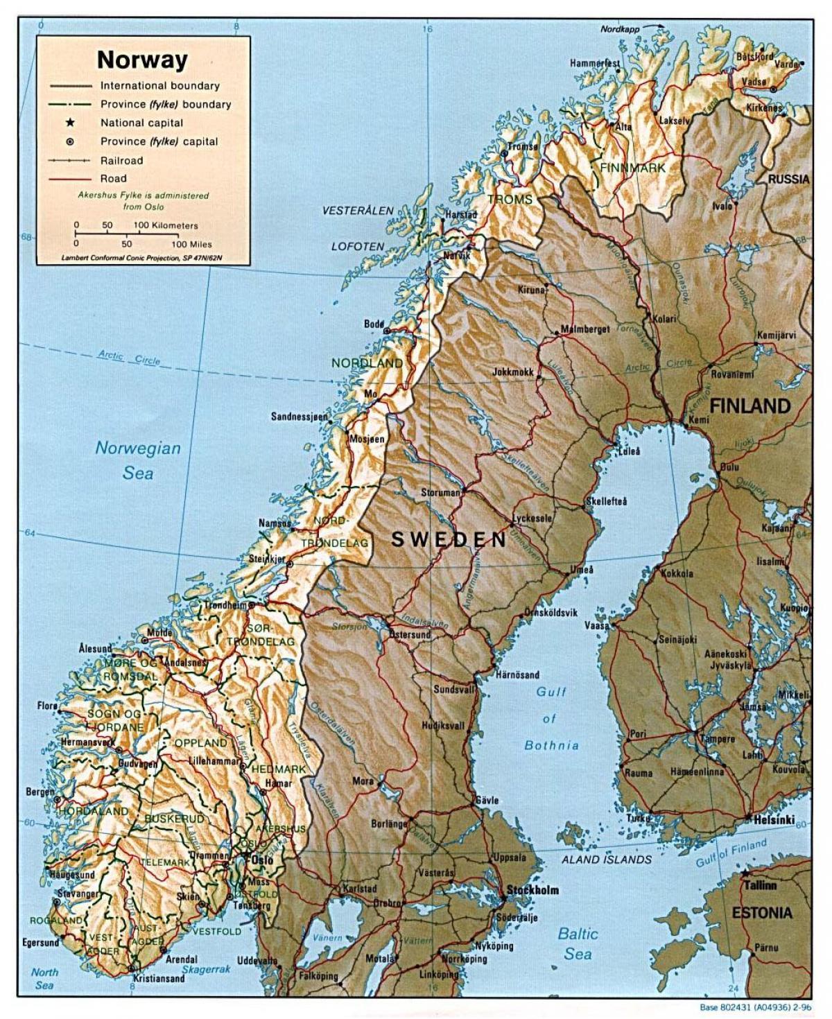 Kartta Norjan Kaupungeissa Yksityiskohtainen Kartta Norjan