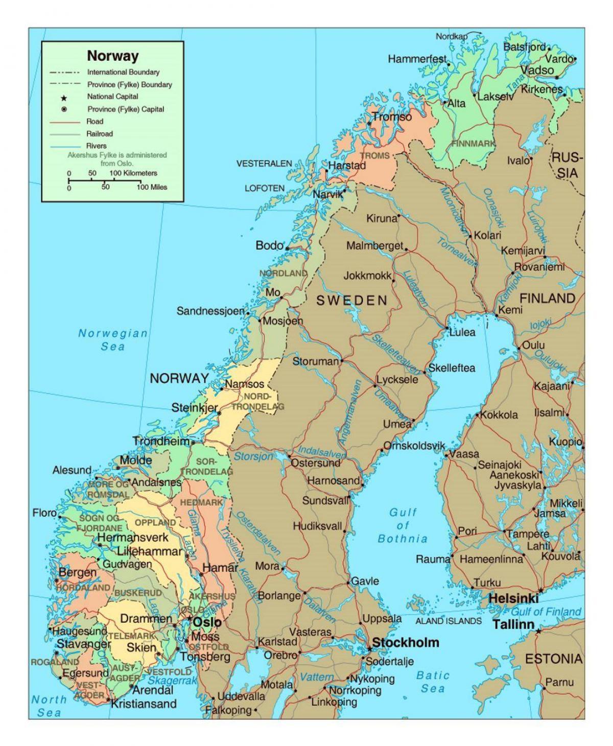 Norja Kaupungeissa Kartta Kartta Norjan Kaupungeissa Pohjois