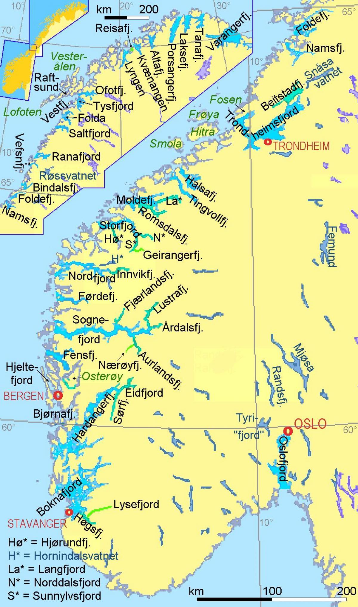 Norjan Vuonot Kartta Kartta Norjassa Osoittaa Vuonot Pohjois