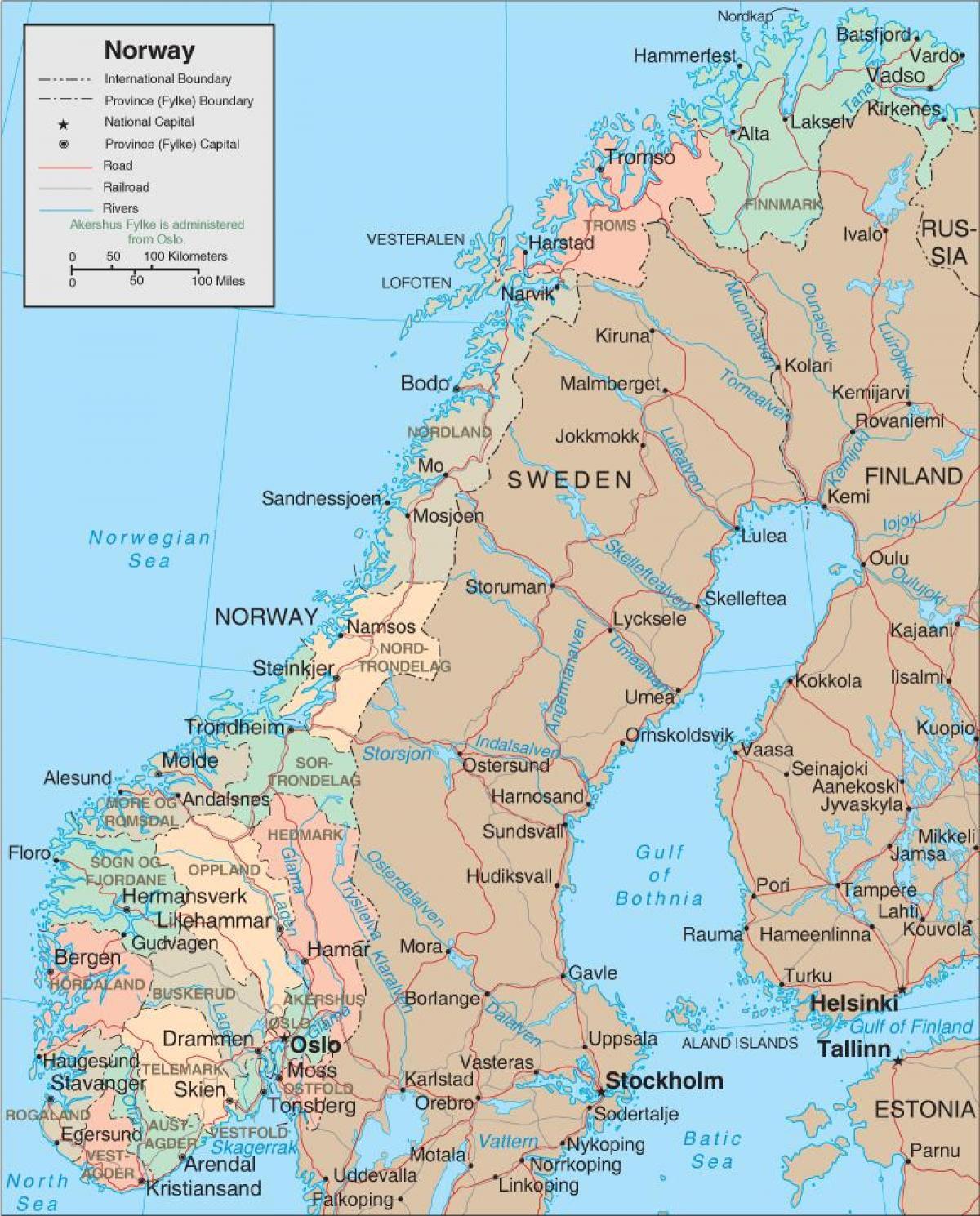 Norjassa Laanin Kartta Norja Maakunnat Kartta Pohjois Eurooppa