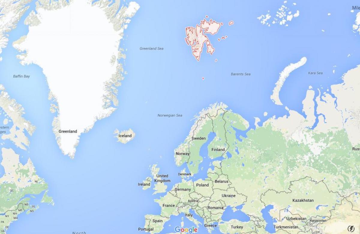 Svalbard Norja Kartta Huippuvuoret Norja Kartta Pohjois